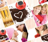 Collage made of valentines images and symbols of love Stock Photos