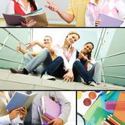collage of students' life in the college - stock photo