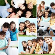 Collage of a group of teenagers Stock Photos