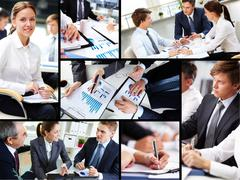 Business people discussing results of work Stock Photos