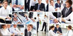 Collage of busy people discussing work and studying Stock Photos