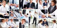 Stock Photo of collage of busy people discussing work and studying