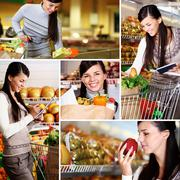 Collage of pretty woman choosing products in supermarket Stock Photos