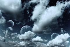 space landscape with planets and stars - stock photo