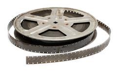 Old movie film on metal reel Stock Photos