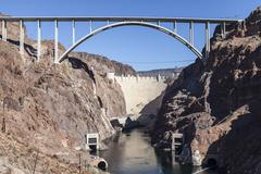 hoover dam bypass bridge canyon view - stock photo
