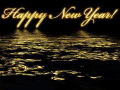 Happy new year - written with reflection in rippled water Stock Illustration