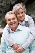 Portrait of a happy senior couple embracing Stock Photos
