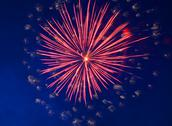 Celebration fireworks in the night Stock Photos