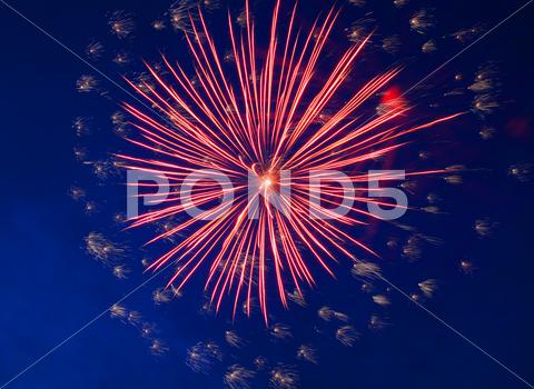 Stock photo of celebration fireworks in the night