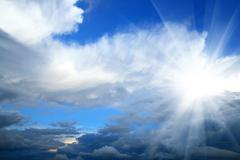 beauty sky with sun and clouds - stock photo