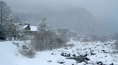 Hot springs in snow weather. Stock Footage
