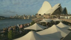 Afternoon drinkers at Sydney Opera house Stock Footage