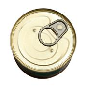 tin with canned goods - stock photo