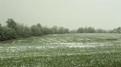 Snow on farm land 2 Stock Footage