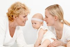 Stock Photo of portrait of happy grandmother, mother and cute baby girl