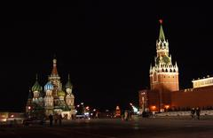 Russia. red square, kremlin, moscow, night Stock Photos