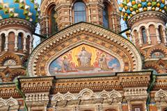 fresco on church wall in st. petersburg, russia - stock photo
