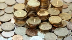 Counter clockwise rotation of ruble coins - Russian currency. Stock Footage