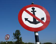 two big signs no anchor - stock photo