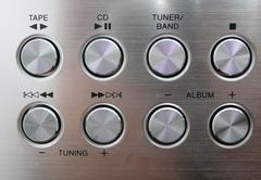 Metallic music buttons Stock Photos