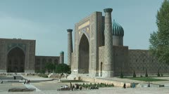 Tylia-Kori and Sher-Dor Madrasah at Registan Square in Samarkand Uzbekistan - stock footage