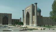 Tylia-Kori and Sher-Dor Madrasah at Registan Square in Samarkand Uzbekistan Stock Footage