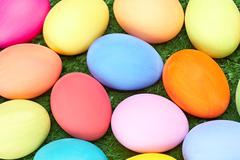 Backdrop macro image of colorful easter eggs that may be used as wallpaper Stock Photos