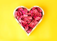 rose petals in heart shape against yellow background - stock photo
