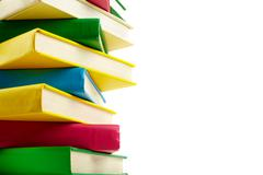 colorful stack of books with copyspace for your text - stock photo