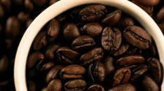 Espresso coffee cup and roasted coffee beans Stock Footage