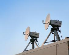 Two satellite parabolic antenna Stock Photos