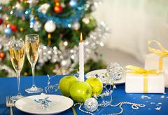 Image of holiday objects on christmas table Stock Photos