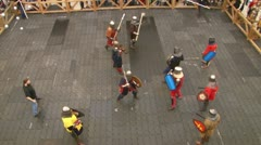 Group of medieval knights fights - stock footage