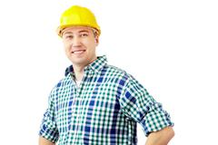 portrait of a smiling worker isolated on white - stock photo