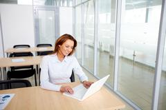 portrait of smiling businesswoman working with laptop in office - stock photo