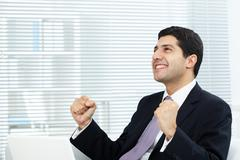 Portrait of attractive businessman expressing his triumph Stock Photos