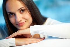 Image of pretty calm woman looking at camera Stock Photos