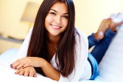 image of pretty girl having rest at home - stock photo