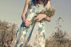 Young, beautiful girl in a blue dress, retro feel Stock Photos