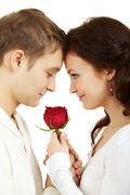 portrait of two young people looking at each other and holding a rose - stock photo