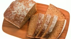 Loaf of sliced soda bread on a bamboo board Stock Footage