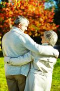 Stock Photo of rear view of aged man and woman taking a walk in autumnal park