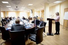 Chelyabinsk – april 14: participants listening to the speaker at conference, apr Stock Photos