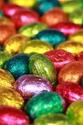 Easter eggs made of chocolate Stock Photos