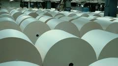 Large rolls of newsprint Stock Footage