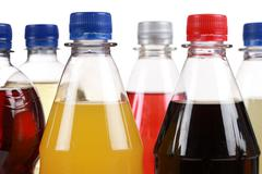 Different bottles with soda Stock Photos