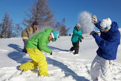 Four teenagers throwing snowballs outdoors Stock Photos