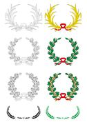 set of vector laurels - stock illustration