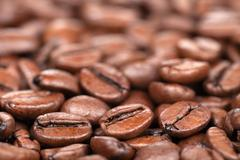 coffee beans with copy space - stock photo